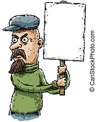Cartoon Activist - A cartoon activist protesting with a sign...