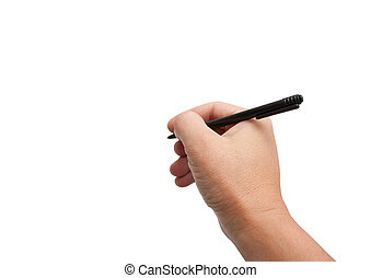 black pen in hand on white background
