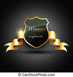 winner label - vector winner golden label sign with space...