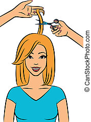 Woman with coiffure in a beauty salon