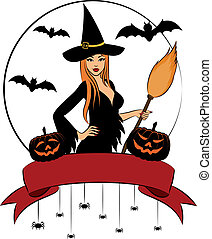 Girl witch with broom in Halloween style.