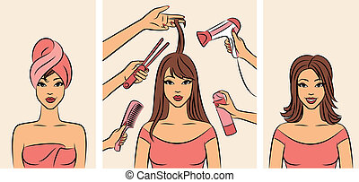 Women with coiffure in a beauty salon