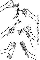 cabeleireiras, mãos, beleza, salão