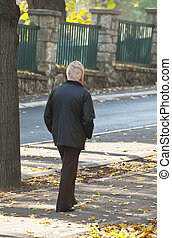 viejo, ambulante, parque, hombre