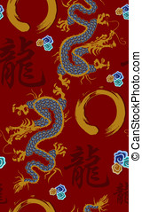 Dragon pattern background - Blue and golden dragon pattern...