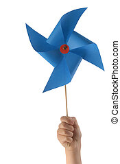 Kid hand with blue windmill - Kid hand holding a blue...
