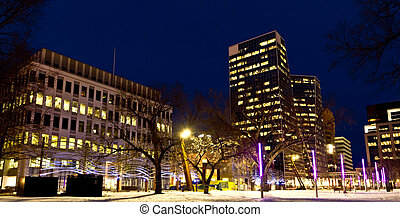 Downtown regina at night - Beautiful downtown regina lit...