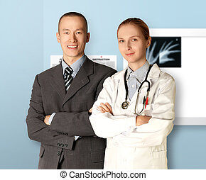 smiling business man and doctor isolated on different...