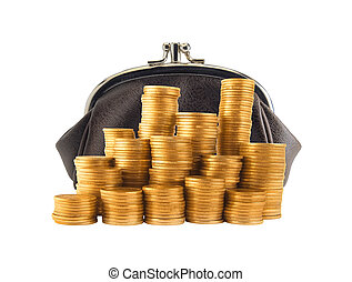 Purse and many golden coins in columns isolated on white...