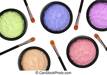 colorful cosmetics eyeshadows in box and brushes isolated on...
