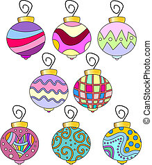 Whimsical, colorful bauble set - Whimsical, colorful bauble...