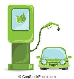auto bio - illustration, bio fuel car on bio fuel