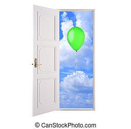 Open door in blue sky and green hot air balloon