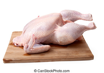 Raw chicken on a kitchen board, white background