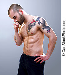 Young, masculine and fit man posing - Young, strong and fit...