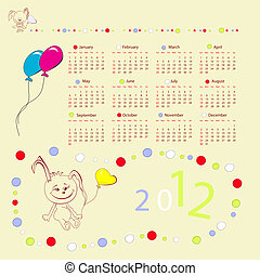 Calendar for 2012 with rabbit