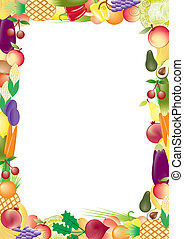 fruits and vegetables vector frame