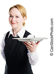 woman waiter with metal cloche lid cover