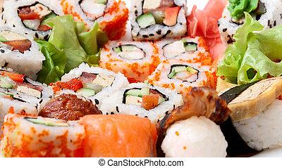 sushi background - sushi Traditional Japanese food Sushi...