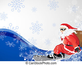 Santa on snowboard - vector illustration of a snowman to go...