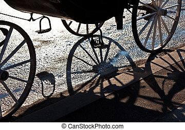 fiaker wheel with shadow in Vienna
