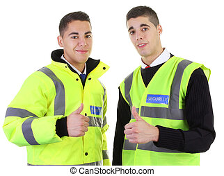 Two security guards thumbs up - Two security guards with a...