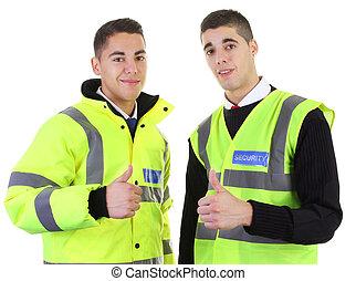 guardie, sicurezza, pollici, su, due