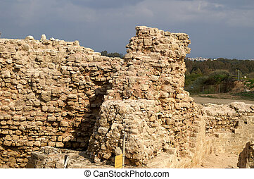 Old castle wall - Ruins of crusader castle in Israel