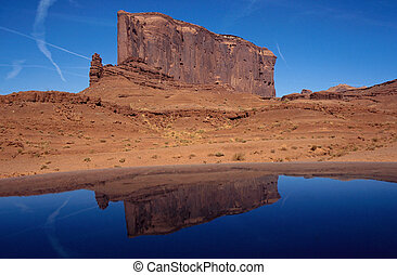 Mount of Monument valley and reflection - Mesa of Monument...