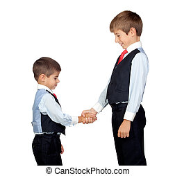 Two friendly businessmen isolated on a over white background