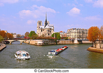 Passenger cruise at Cathedral Notre Dame, river Seine Paris...
