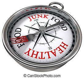 healthy versus junk food concept compass with black red...