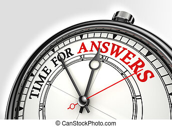 answers time concept clock closeup on white background with...