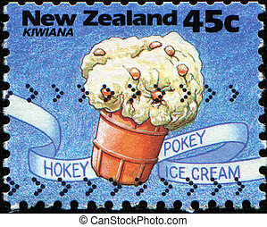hokey pokey ice cream - NEW ZEALAND - CIRCA 1994: A stamp...