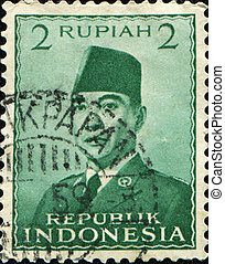 first president of Indonesia Sukarno - INDONESIA - CIRCA...