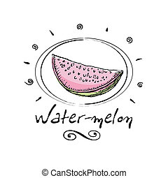 water-melon - hand drawn water-melon in vignette