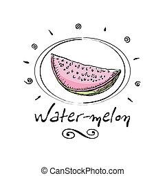 water-melon  - hand drawn water-melon in vignette