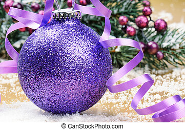 Sparkling purple Christmas ball