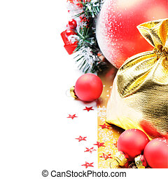 Christmas decoration in red and golden tone