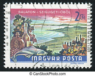 Lake Balaton - HUNGARY - CIRCA 1968: stamp printed by...