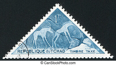 antelopes - CHAD CIRCA 1962: stamp printed by Chad, shows 2...