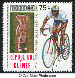 athlete - GUINEA - CIRCA 1969: stamp printed by Guinea,...