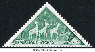 antelopes - CHAD CIRCA 1962: stamp printed by Chad, shows 3...
