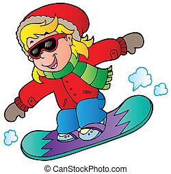 Cartoon girl on snowboard - vector illustration