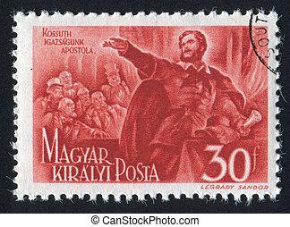 Lajos Kossuth - HUNGARY - CIRCA 1944: stamp printed by...