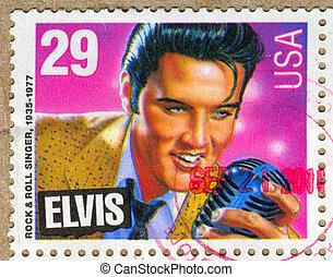 Elvis Presley - UNITED STATES - CIRCA 1992: stamp printed by...