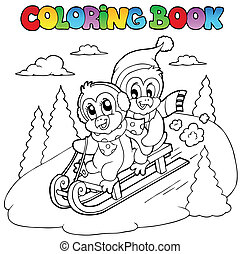 Coloring book penguins sledging - vector illustration.