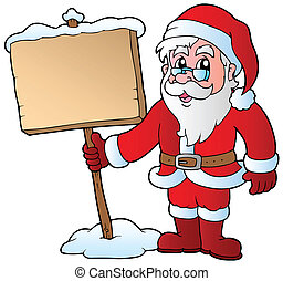 Santa Claus holding wooden board - vector illustration.