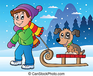 Winter scene with boy and sledge - vector illustration