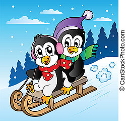 Winter scene with penguins sledging - vector illustration.